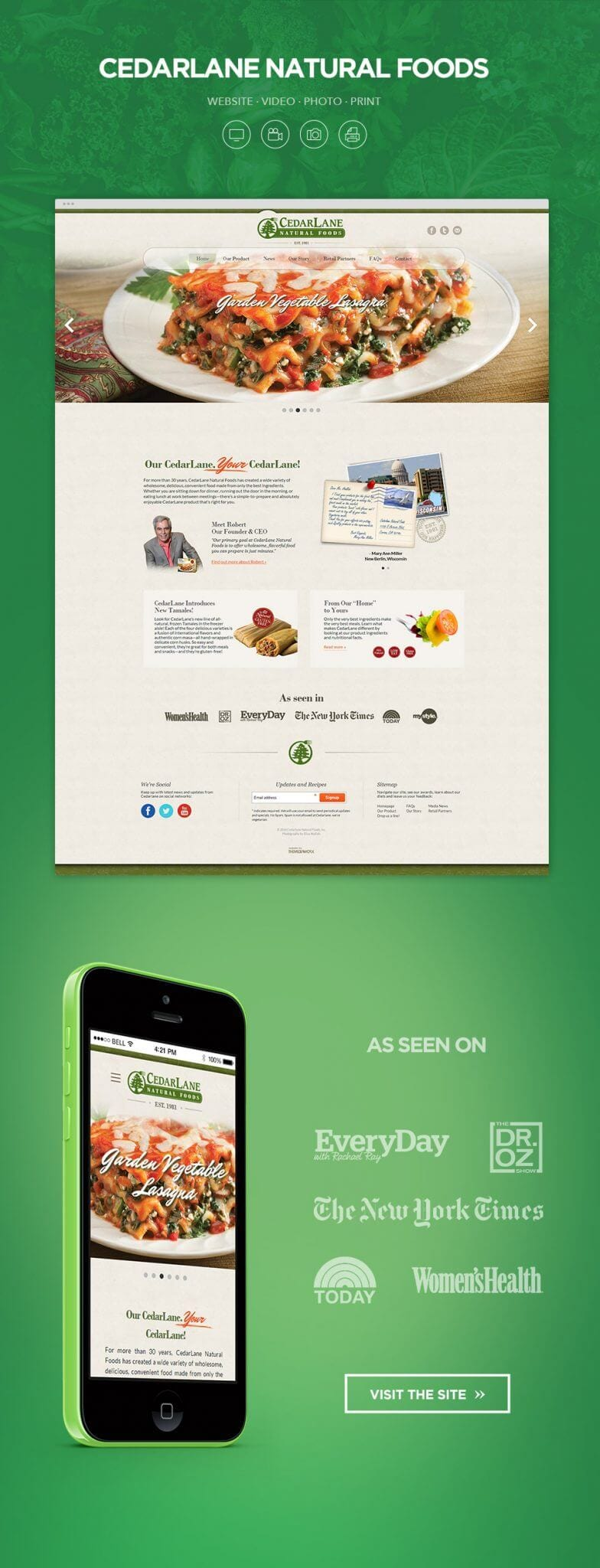 Website design for food companies Los Angeles